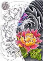 Lotus Peony Rose half half by jerrrroen