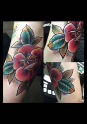 Watercolor rose tattoo by jerrrroen