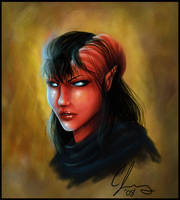 Ophelia the Tiefling Fighter by Candy-Janney