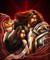 Onyxia, Bolvar, and Anduin by Candy-Janney