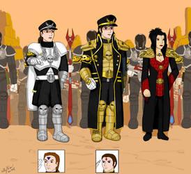 Colonel Jaidan, General Fefnir and Princess Lumine by LordNagashFear