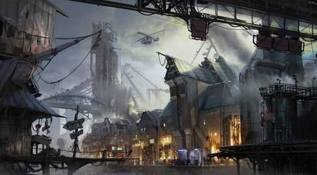 cyberpunk port town by ptitvinc