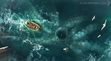 giant octopus by ptitvinc