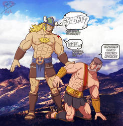 Atlas lost his contact lens.... by leomon32