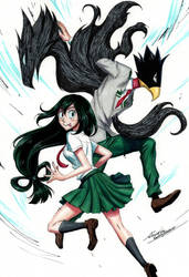 Tokoyami and Tsuyu by monyta