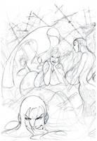 Mermaids Pencil Sketch by O-mac