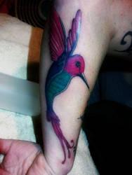 Girlfriend's Humming Bird Tattoo by discipleneil777