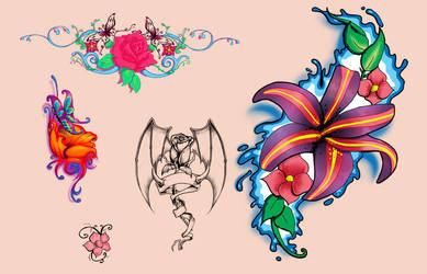 Flash Flower Tattoo Designs by discipleneil777