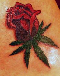 Rose Pot Leaf Tattoo by discipleneil777