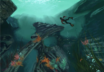 Uncharted painting Bob Ross style underwater by discipleneil777