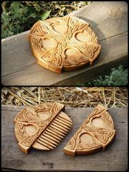 celtic cross hair comb by pagan-art