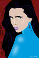 Illustration in blue turtle neck by mambographic