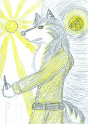 Skoll with Sager in the Moon by JimWolfdog
