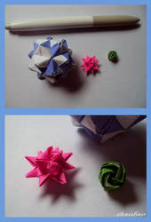 Tiny Rose, Moravian Star, and Sonobe Ball by stonesliver