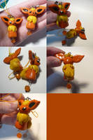 Flareon Bead Charms by ChibiSilverWings