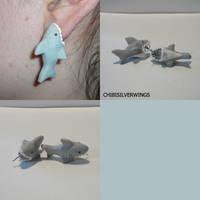 Great White Shark Bite Earrings by ChibiSilverWings