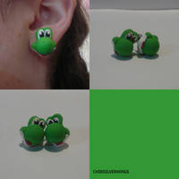 Yoshi Earrings by ChibiSilverWings