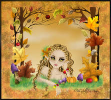 The fairy of the autumnal forest digitally colored by aiduqui