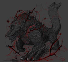 Stygian Zinogre, the Hell Wolf Wyvern by Halycon450
