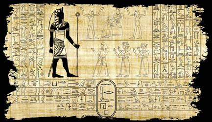 Nyarlathotep in hieroglyphics by unsungno1