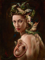 Amphibian Goddess, 24x18 in, oil on Belgian linen by alexandramanukyan