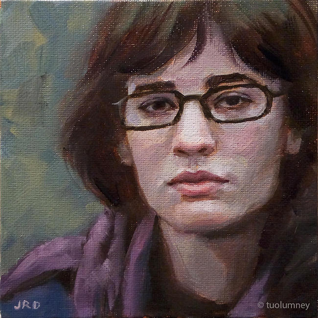 Purple Scarf - 6x6 inches oil on canvas panel by tuolumney
