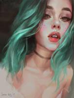 Greenhead girl by Junica-Hots