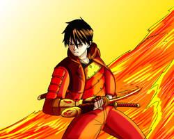 OC-Tenno Akahi and his flaming sword by HimuraQ