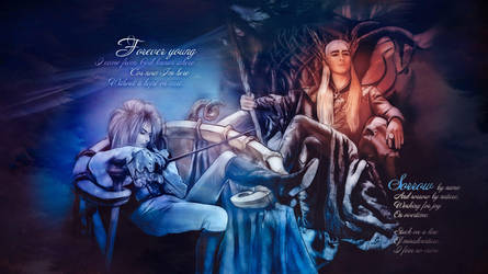 Kings of fairy lands: Jareth and Thranduil by Cudzinec