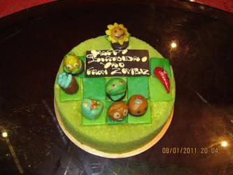 finished PvZ cake by jaguanna
