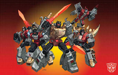 Dinobots groupshot with boxart by Dan-the-artguy