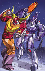 Rodimus Prime vs.Galvatron by Dan-the-artguy