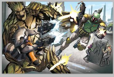 Guardians of the Galaxy vs. Boba Fett by Dan-the-artguy