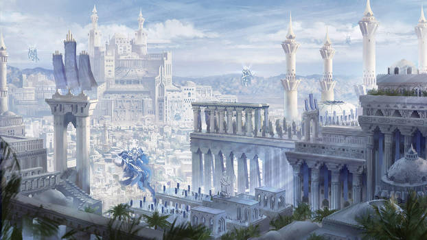 Qrath Empire (cityscape fantasy concept art) by DamianKrzywonos
