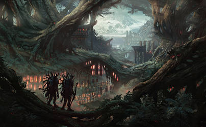 Root Witches (forest fantasy environment concept) by DamianKrzywonos