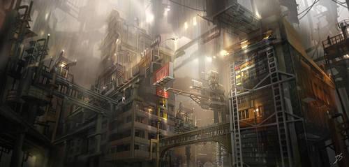 Environment concept art - Industrial building 1 by derrickSong