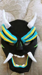Painted Clay Kabuki Mask by CatcrazyMinerGirl