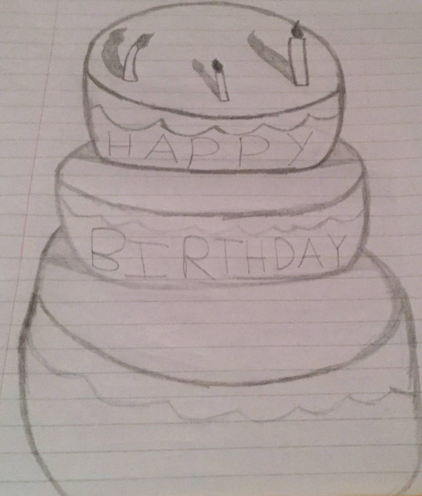 Pencil sketch birthday cake by epicannie