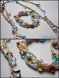Multi drop necklace + bracelet by firedance99