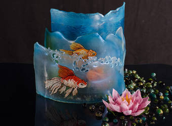 Goldfish Trio Sculpture in Isomalt by Battledress