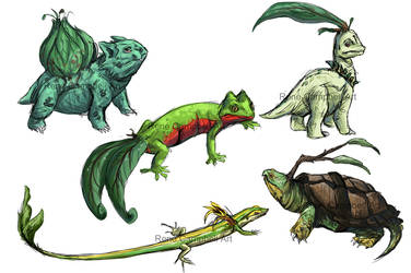 Realistic Pokemon Sketches: Grass Starters by ReneCampbellArt