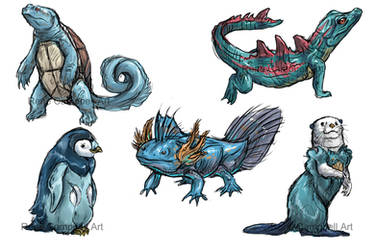 Realistic Pokemon Sketches: Water Starters by ReneCampbellArt
