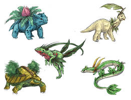 Realistic Pokemon Sketches: Grass 2nd Evolutions by ReneCampbellArt