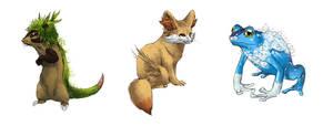 Realistic Pokemon Sketches: Gen 6 Starters by ReneCampbellArt