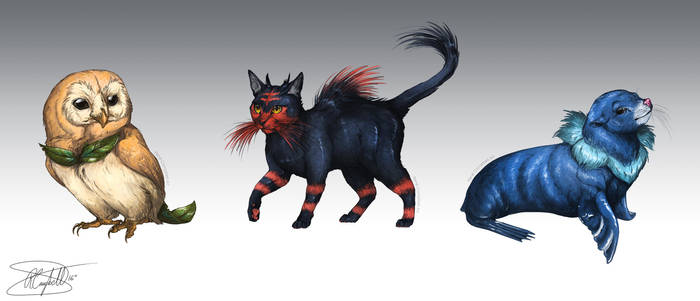 Realistic Pokemon Sketches: Sun and Moon Starters by ReneCampbellArt