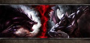Vampires VS Werewolves by NinjArt1st
