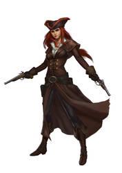 female gunslinger by macarious