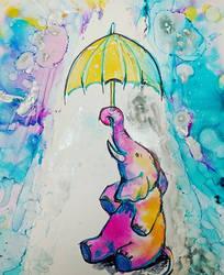 Elephant in the rain by james-talon