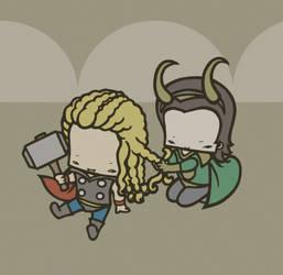 Thor and Loki by drwarumono