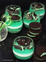 Mint Panna Cotta w/ Mint Oreo Cookies by theresahelmer